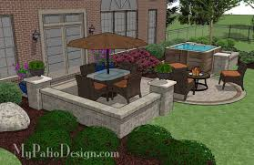 Patio Design Plans Delighful Patio Designs With Fire Pit And Tub Covered Privacy