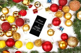 new year decoration mobile phone and christmas and new year decoration stock image