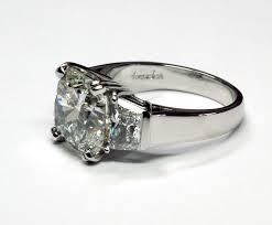 Diamond Cushion Cut Ring Platinum Three Stone Ring With One 4 50ct Cushion Cut Diamond And