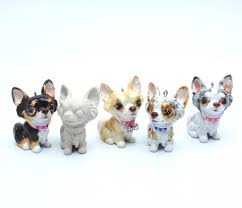 5 chihuahua haired ceramic diy unpainted figurine ornament