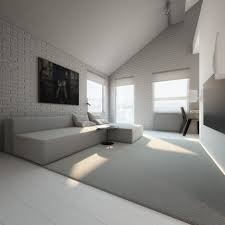 white brick and grey textured living room black feature wall