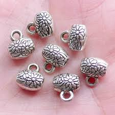 silver necklace diy images Floral bead bail charm hanger silver bail beads with flower jpg