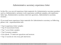 Administrative Secretary Resume Sample Administrativesecretaryexperienceletter 140831113442 Phpapp02 Thumbnail 4 Jpg Cb U003d1409484908