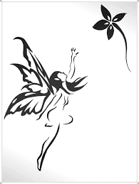 black tribal fairy with flower tattoo stencil