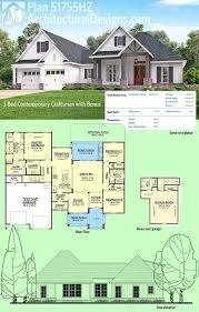 architectural designs house plans plan 51755hz 3 bed contemporary craftsman with bonus garage