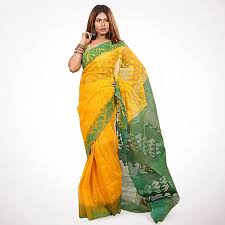 bangladeshi jamdani saree online dhakai jamdani yellow and green half silk jamdani saree for women