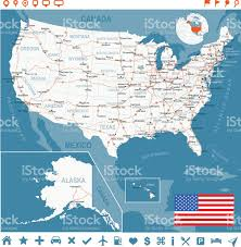 Alaska Us Map by United States Map With Flag Main Roads States And Cities Stock