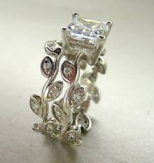 14k gold wedding ring sets made princess cut moissanite leaf engagement ring set 14k