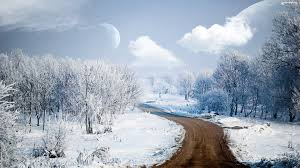 Way To Winter Winter Road Wallpaper