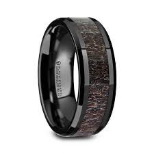 black titanium rings wedding rings deer track fishing rings larson jewelers
