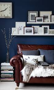 Navy Blue Leather Sofas by Rich Brown Leather Sofa In Front Of A Navy Accent Wall House Cat