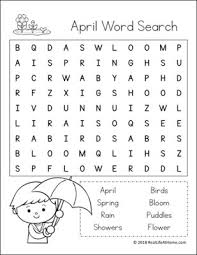 printable word search worksheets free printable april word search printable puzzle for kids