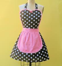 black polka dot apron french maid retro zoom