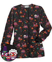 ua thanksgiving pilgrim owls black print scrub jacket scrubs