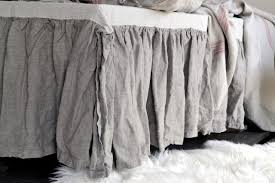 heavy weight rustic rough stonewashed linen bed skirt dust ruffle