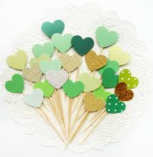 40pcs handmade forest green heart cupcake toppers cupcake toppers