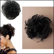 bun scrunchie synthetic black imitation hair scrunchie bun bobble