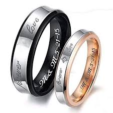 custom steel rings images Personalized couples forever love gold black jpg