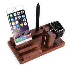 wooden charging station with two usb ports and integrated desk