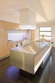 kitchen stainless steel island with led lighting and sink and