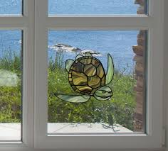 clr wnd honu sea turtle stained glass style vinyl decal for