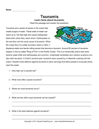 tsunami comprehension u2014 instant worksheets