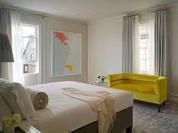 gray bedroom with yellow sofa design ideas