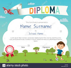 colorful kids summer camp diploma certificate template stock