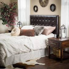 Headboard With Mirror by Brown Leather Tufted Headboard Queen With Unique Wall Mirror And