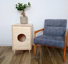 Modern Cat Tree Pets Wooden Cat Litter Box Cat Litter Furniture Kitty Litter