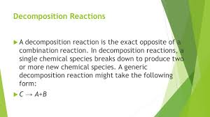 types of chemical reactions lesson objectives be able to