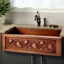 Bronze Kitchen Faucet Sinks Copper Floral Pattern Apron Sink Antique Bronze Kitchen