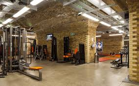 luxury interior fitness center design ideas with grey rug on the