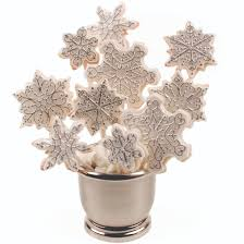 silver and white snowflake cookie bouquet snowflake cookies