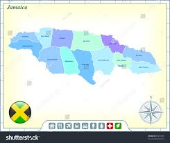 Jamaica Map Jamaica Map Flag Buttons Assistance Activates Stock Vector