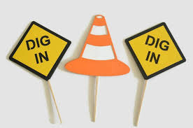 construction cake toppers orange cone dig in construction sign cupcake toppers bachelorette