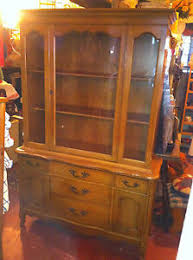 vtg china cupboard cabinet hutch buffet glass and wood door basset