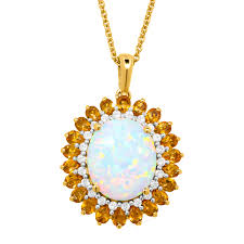 natural white opal created opal white sapphire u0026 natural citrine pendant in 14k gold