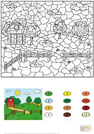 rural landscape with barn fruit trees and fields color by number