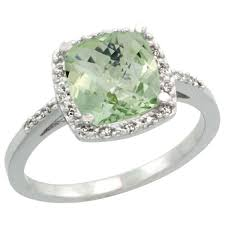 green amethyst engagement ring sterling silver diamond green amethyst ring
