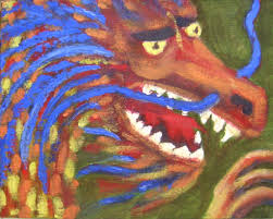 dragon making art with fabric