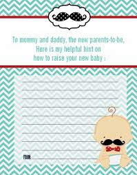 baby shower notes mustache baby shower notes of advice