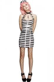 Halloween Inmate Costume Womens Striped Halter Sleeveless Halloween Prisoner Costume Black