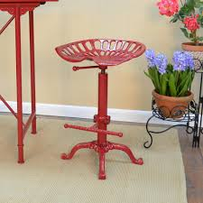 carolina cottage tractor seat adjustable height red bar stool