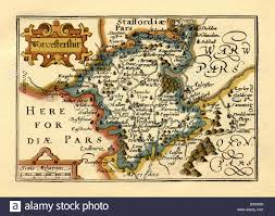 England Counties Map by Old English County Map By John Speed Circa 1625 Stock Photo