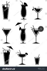 martini silhouette vector set cocktails silhouettes vector illustration stock vector