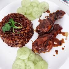 cuisine guyanaise le nassi avec poulet fricassé et concombre sucré caroline island