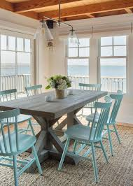 Wood Chairs For Dining Table Coastal Dining Room With Beachy Blue Dining Chairs Hgtv