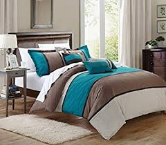 Turquoise Comforter Set Queen Amazon Com 7 Pieces Luxury Micro Suede Turquoise Blue Grey And
