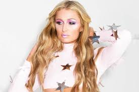 Blind Christian Paris Hilton Rocks Starry Barely There Crop Top And Sky High Heels